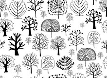Seamless Pattern With Trees, S...