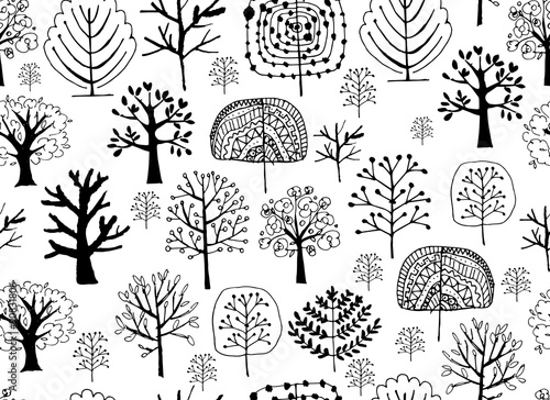 mata magnetyczna Seamless pattern with trees, sketch for your design