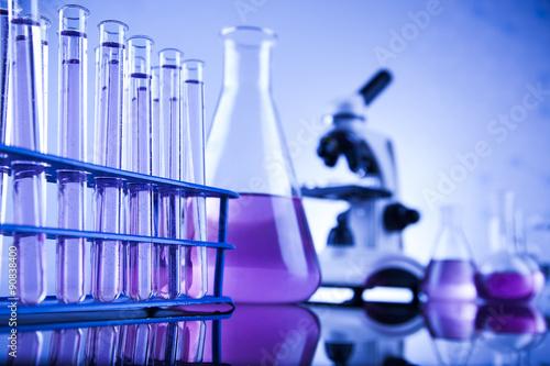 Fotografía  La ciencia química, Laboratorio de fondo de la cristalería
