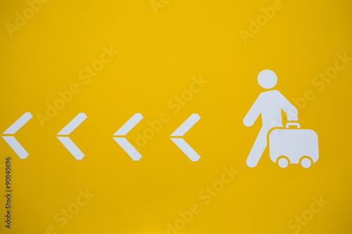 Valokuvatapetti bagage valise partir voyage signalétique symbole flèche