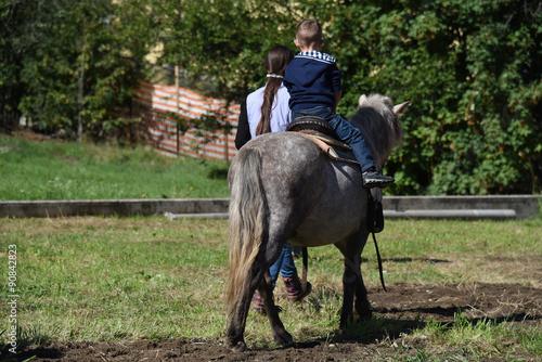 Tuinposter Paardrijden cavalcare pony bambini a cavallo sport equitazione