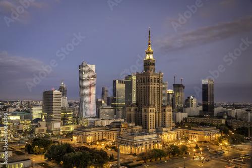 fototapeta na szkło Warsaw downtown sunrise aerial view, Poland