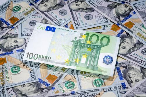 One Hundred Euro On American Dollars Money Background