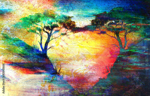 Painting sunset, sea and tree, wallpaper landscape color collage