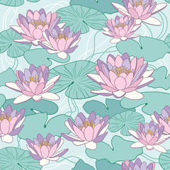 FototapetaLotus flowers in seamless pattern