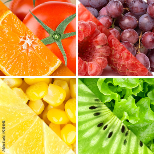 Poster Cuisine Fresh color fruits, berries and vegetables