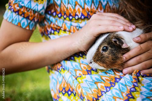 Fotografía  Little girl petting guinea pig