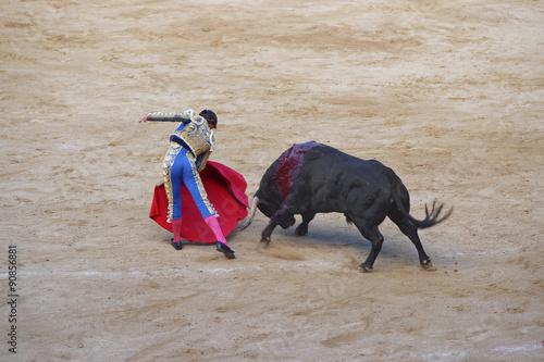 Photo Stands Bullfighting Bullfighter angers a bull