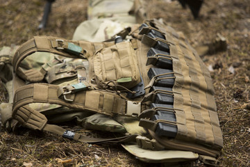 Lying tactical vest on the ground
