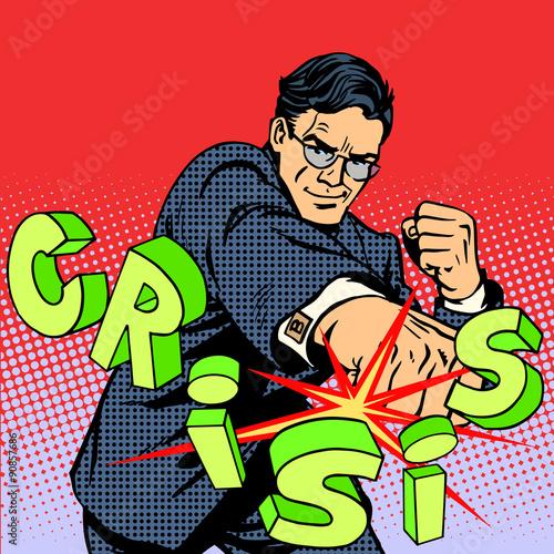 Fotografía  Super businessman hero against crisis business concept