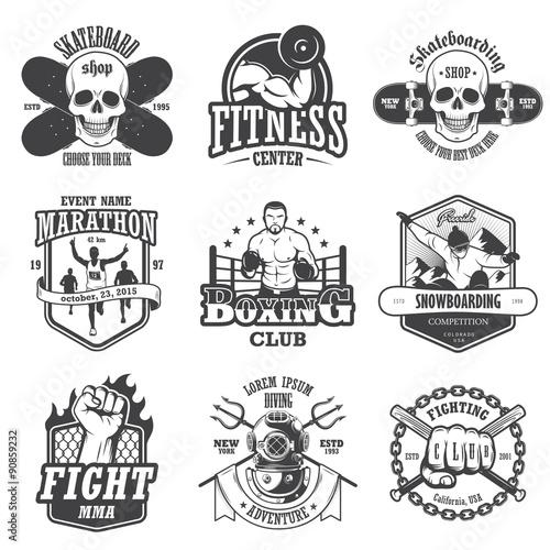 Photo  Set of vintage sports emblems