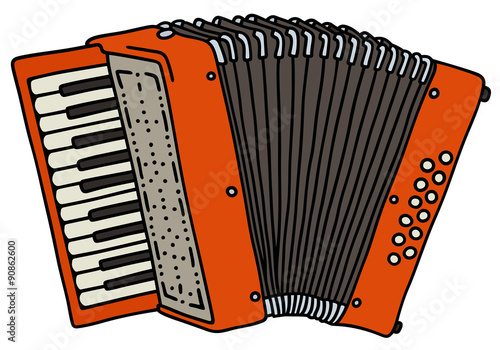 Fényképezés  Red accordion / Hand drawing, vector illustration