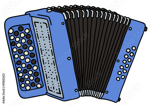 Valokuva  Blue accordion / Hand drawing, vector illustration