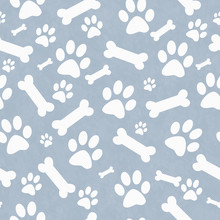 Blue And White Dog Paw Prints ...