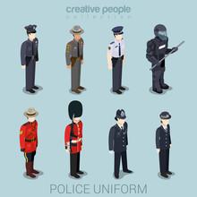 Police People In Uniform Flat ...