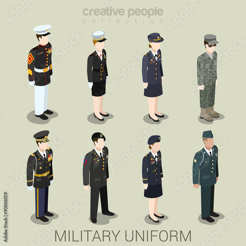 Canvas Print Military army people in uniform flat style isometric icon set