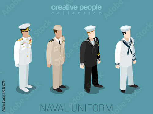 Photo Naval military people in uniform flat style isometric icon set