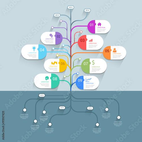 tree mindmap timeline process infographics template background buy