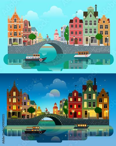 City Europe flat vector: river canal, bridge, historic buildings Canvas Print