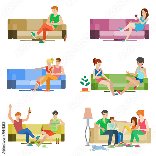 Vector Flat People Couple Friends Family Sitting On Sofa Relax Buy