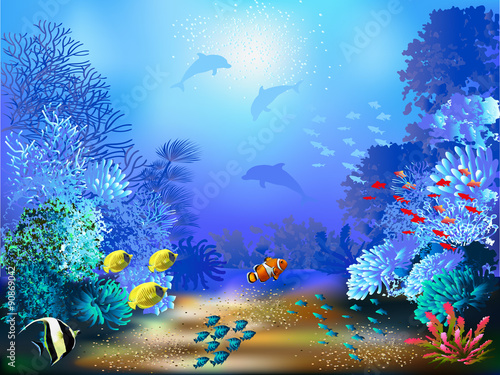 The underwater world with fish and plants  - 90869042