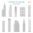 Architecture city skyscraper graphical lineart vector set