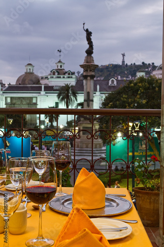 Staande foto Marokko View of plaza grande from a restaurant in Quito, Ecuador