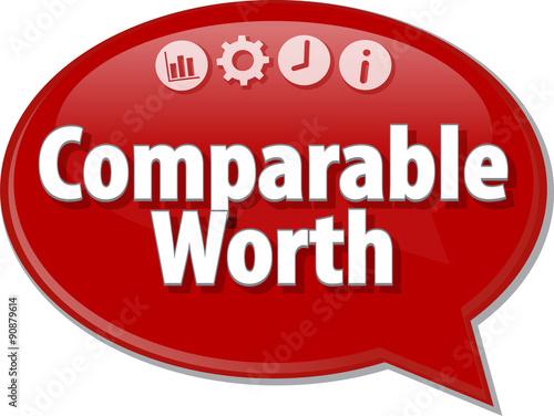Valokuva  Comparable Worth  Business term speech bubble illustration