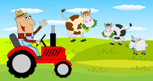 The Man Is A Farmer On A Tractor And Cows On The Meadow