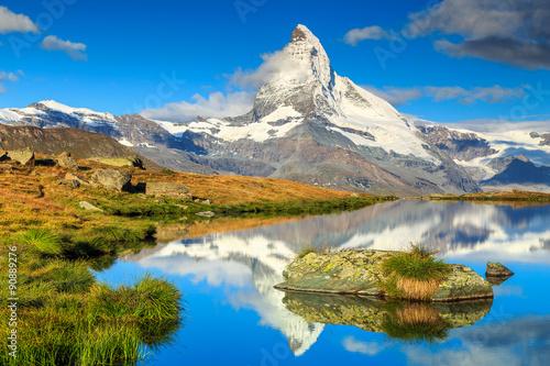 Fotografie, Obraz  Famous Matterhorn peak and Stellisee alpine glacier lake,Valais,Switzerland
