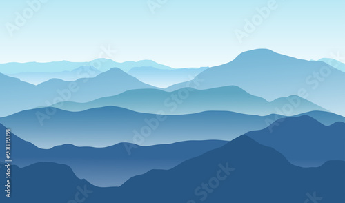 Valokuvatapetti Blue mountains in the fog. Seamless vector background.