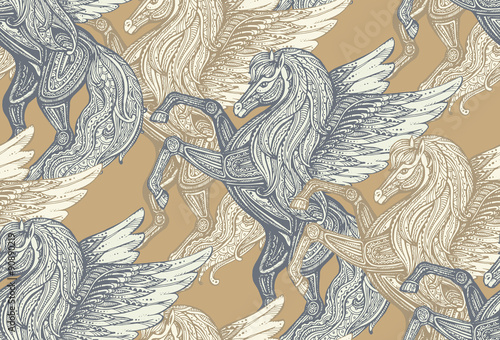 Seamless vector pattern with Hand drawn Pegasus