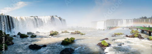 Tuinposter Watervallen Iguacu (Iguazu) falls on a border of Brazil and Argentina