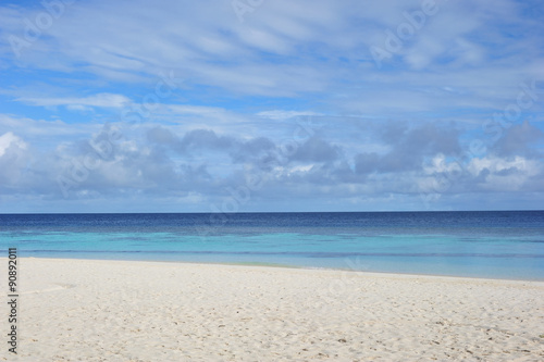 Sand beach and ocean wave, Maldives Wallpaper Mural