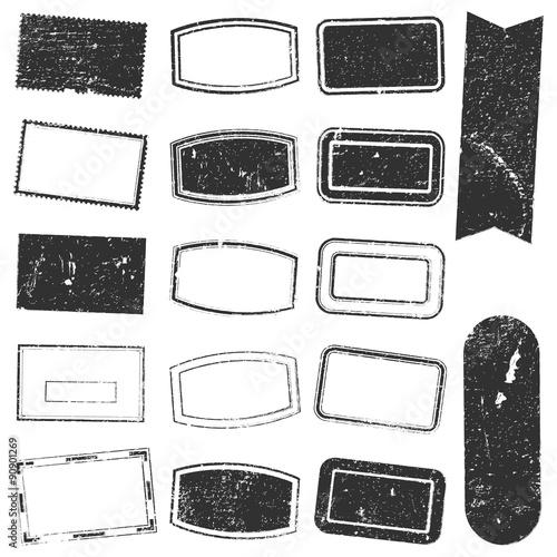 Fotografie, Obraz  Rectangle Stamp Set Grunge
