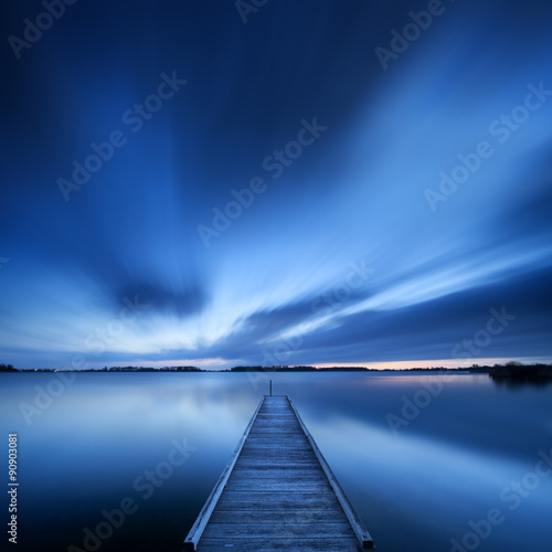 Fototapety, obrazy: Jetty on a lake at dawn, near Amsterdam The Netherlands