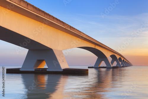Canvas Prints Bridge The Zeeland Bridge in Zeeland, The Netherlands at sunrise