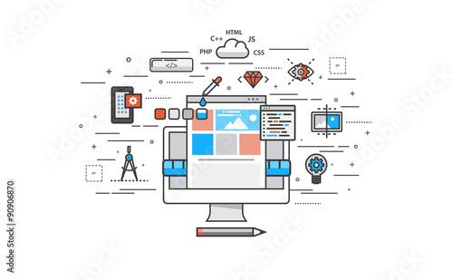 Fotografía  Thin line flat design of website building process