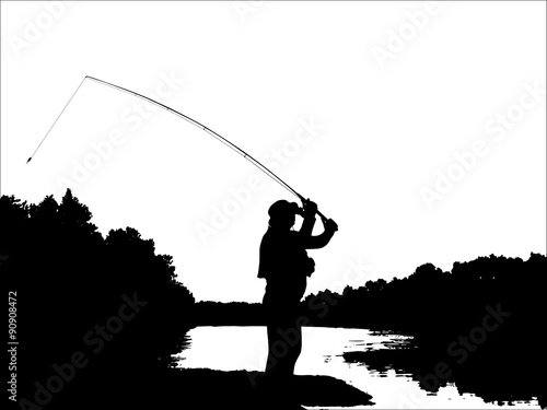 Fisherman casting from coast Canvas Print