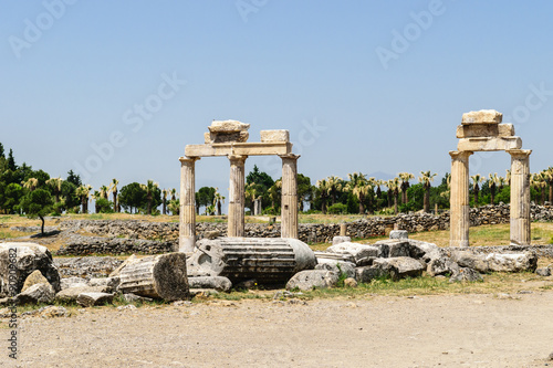 Fotografie, Obraz  The ancient Greek and Roman city of Hierapolis (Taurus mountains, Pamukkale in Turkey)