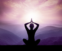 Yoga And Meditation. Silhouette.
