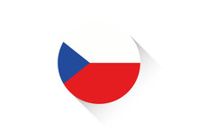 Round Flag With Shadow Of Czech Republic