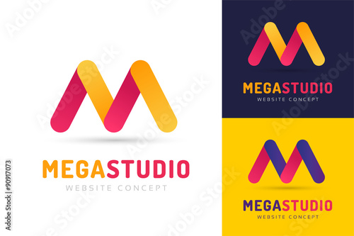 Photo  Abstract M letter vector logo icon template