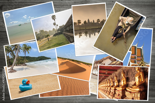Fotografie, Obraz  holiday pictures of asia - travel polaroids on wooden background