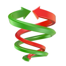 Red And Green Spiral Arrows. 3...