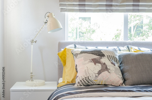 Fototapety, obrazy: modern bedroom with white lamp on white wooden table side