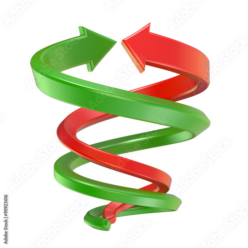 Photo Red and green spiral arrows
