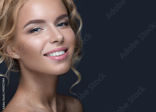 Fotografie, Obraz  Beautiful blond woman in image of the bride. Beauty face and