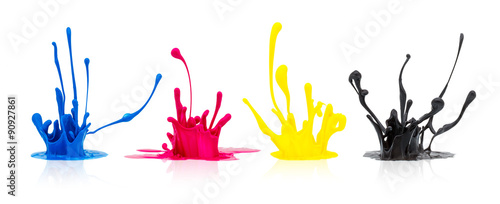 Acrylic Prints Form CMYK paint splashing on white