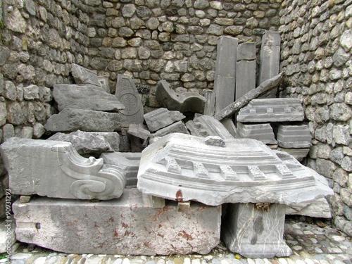 Fotografering  Old earthquake rubbles, Venzone, Italy
